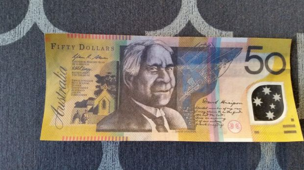 One of the fake 50-dollar notes.