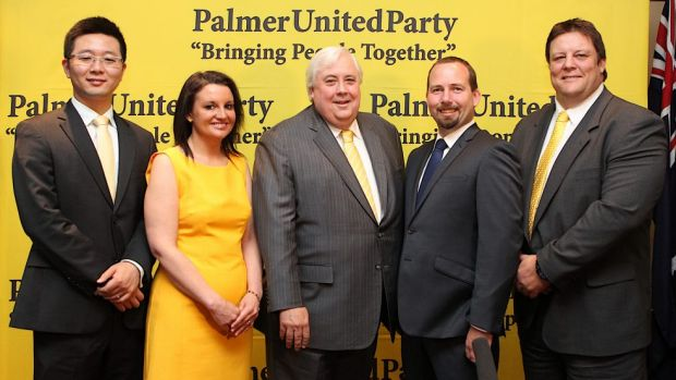 Dio Wang, Jacqui Lambie, Clive Palmer, Ricky Muir and Glenn Lazarus during happier times in October 2013.