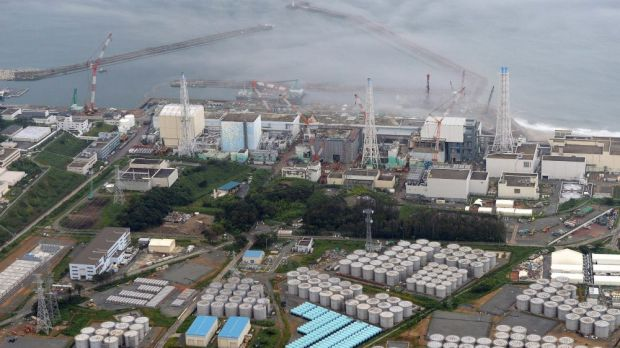 Under tsunami warning ... the troubled Fukushima Dai-ichi nuclear plant at Okuma, northern Japan.