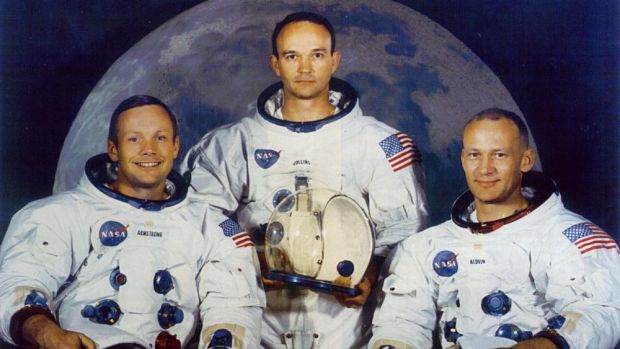 The Apolllo 11 crew Neil Armstrong, Mike Collins and Buzz Aldrin bound for the Moon in 1969.