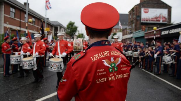 Orangemen play drums during the annual July 12 march.