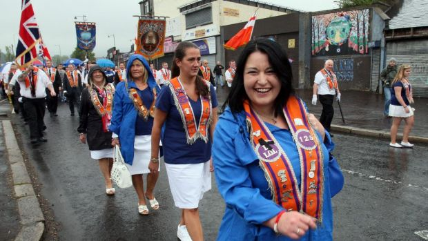 Loyalists of the Orange Order march past the Ardoyne area of north Belfast at the weekend.