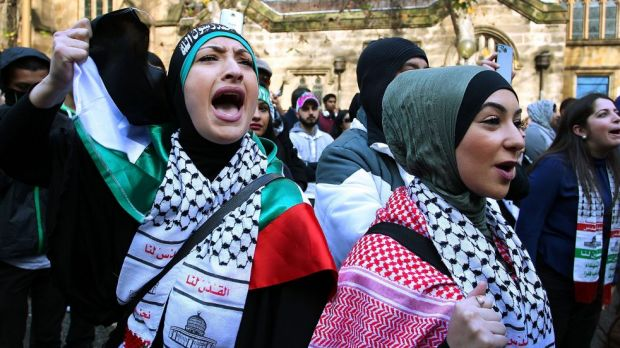Pro-Palestinian supporters chant during a rally in Sydney against Israel's recent attacks on Gaza.