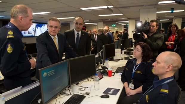 Minister for Immigration and Border Protection Scott Morrison and acting-Commander of Strategic Border Protection Terry ...