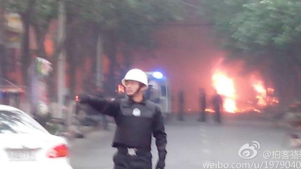 The aftermath of the deadly explosion at a market in Urumqi in May.