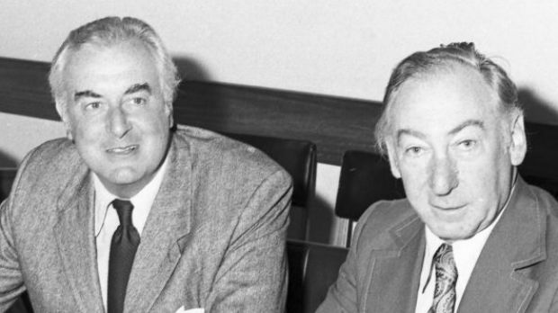 Gough Whitlam with Lionel Murphy in 1974.