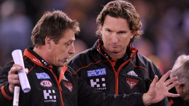 In less complicated days: Mark Thompson and James Hird.