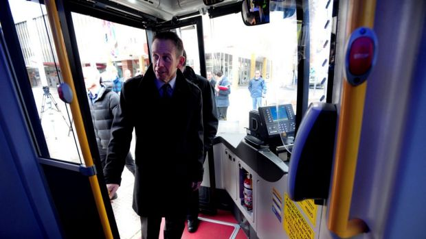 Minister for Territory and Municipal Services Shane Rattenbury launches ACTION's new, greener Scania buses.