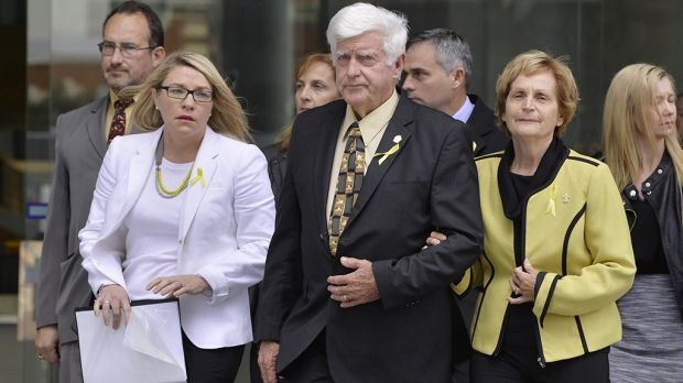 Parents of Allison Baden-Clay Geoff and Priscilla Dickie leave Brisbane Supreme Court flanked by Allison's friend Kerry ...