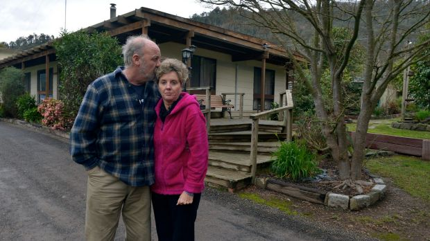 "Flowerdale residents Brenton and Lyn Gunter. ""It was just a blame game,"" she says."