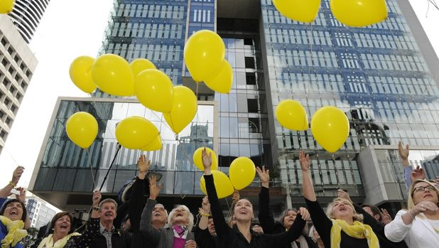 Allison Baden-Clay's family and supporters release balloons after the jury found her husband, Gerard Baden-Clay guilty ...