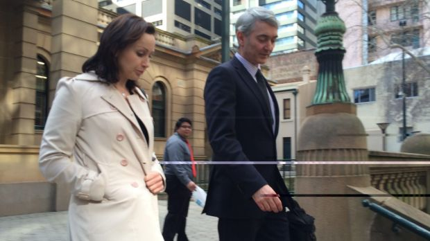 Benjamin Hampton's wife Louise and lawyer Gordon Elliot leave court after the bail hearing.