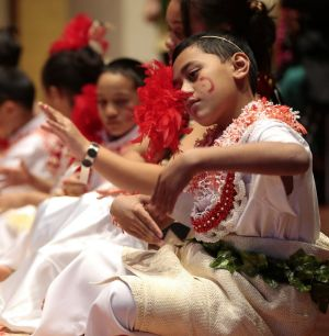 Moeata Faleafa performing with the ACT Tongan Language and Cultural School.