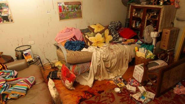Crime scene... inside the Lurnea house where Kesley Burgess was attacked.