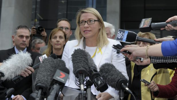 Kerry-Anne Walker speaks to the media after the High Court hearing last month.