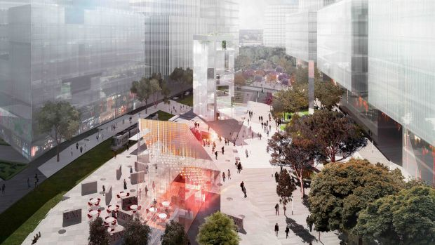 An artist's impression of the Green Square town centre when the project is complete.