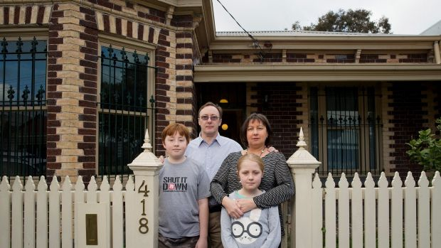 Howard and Gillian Tuxworth, with children Harry and Molly. Their Collingwood home is set to be levelled for a temporary ...