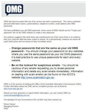 OMG's message to users.