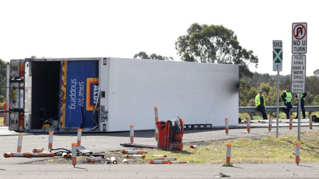 A truck driver has died in a head-on collision on the Hume Highway near Ingleburn.