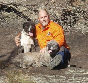 Pig hunter Ned Makim with his hunting dogs, Dave and Mary.