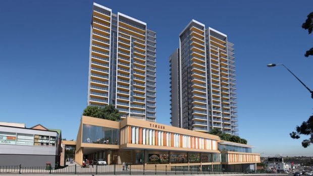 An amended version of an artist's impression with the buildings reduced to 24 storeys.