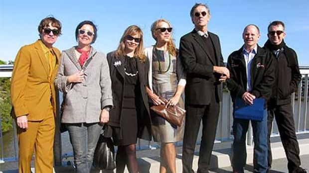 Members of the Go-Betweens join with Lord Mayor Campbell Newman (second from right) to celebrate the impending opening ...