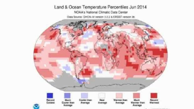 Hot spots over most of the globe's seas.