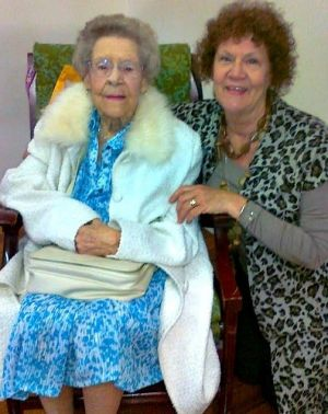 Ivy Laver on her 100th birthday with her daughter, Michele Worthington.