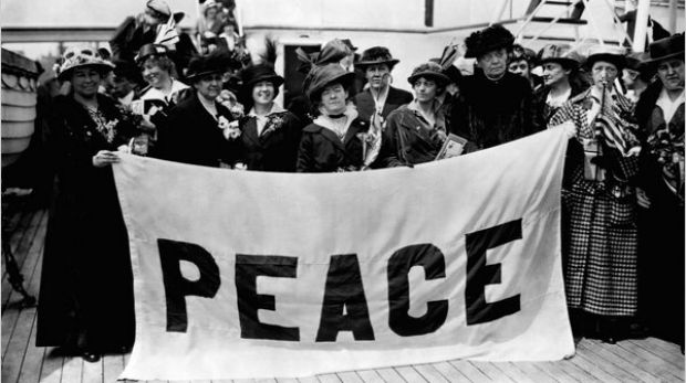The US Women's Peace Party arrives in the Netherlands for the 1915 International Congress of Women at The Hague.