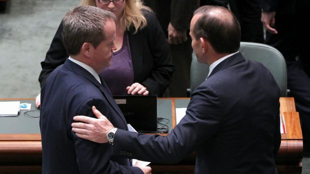 Bill Shorten and Tony Abbott in discussion after delivering statements on Malaysian Airlines flight MH17: No time for ...