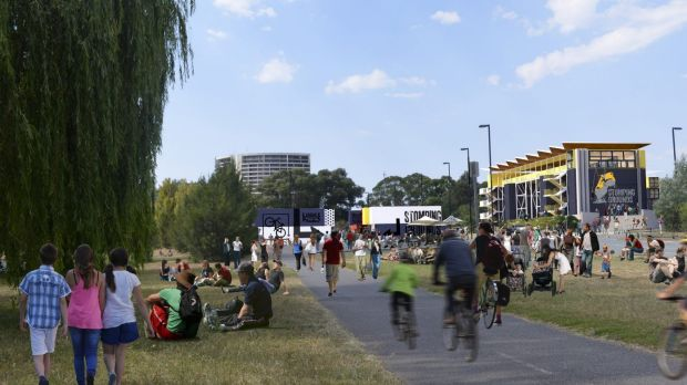 An artists' impression of a new vibrant precinct on the shores of Lake Burley Griffin.