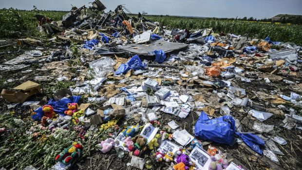 Flowers, soft toys along with pictures are left at the wreckage of MH17.