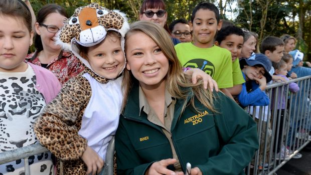 Bindi Irwin with one of her many fans who helped celebrate her birthday by wearing animal onsies.