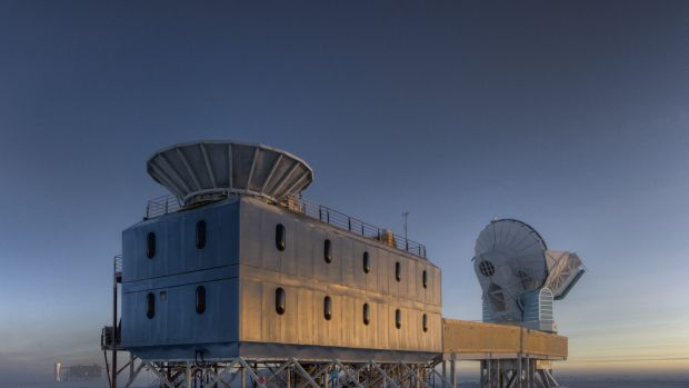 The Dark Sector Lab, which houses the BICEP2 telescope, in Antarctica about a kilometre from the geographic south pole. ...
