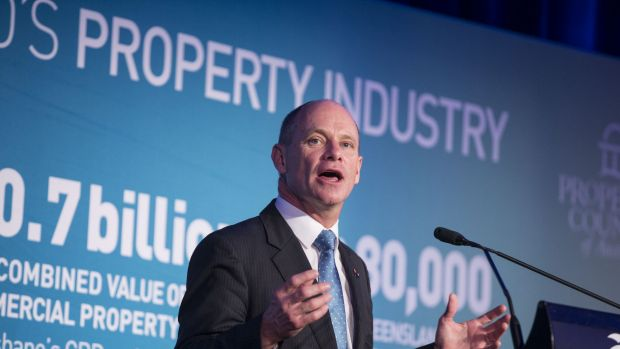 Queensland Premier Campbell Newman speaking at a Queensland Property Council lunch in Brisbane.