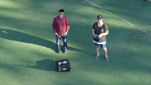 "The flight crew at Melbourne's iDrones takes a ""dronie."""
