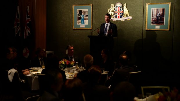 Premier Mike Baird, who says Vic Alhadeff has his full confidence, speaks at the dinner.