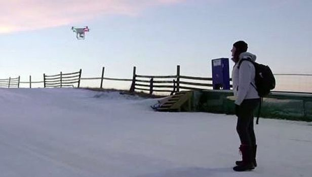 Fly over: the NZ Tourism drone in the ski fields.