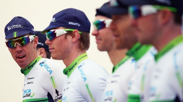 Mathew Hayman, left, with his Orica-GREENEDGE teammates last year.