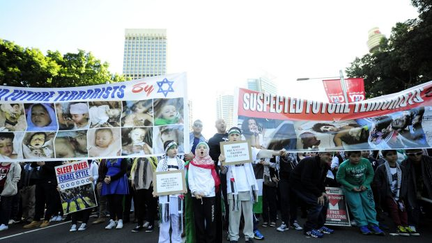 Conflict: Protesters march in support of Palestinians in Sydney.