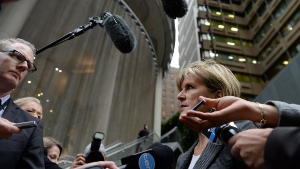 Foreign Minister Julie Bishop speaks to reporters after a tense encounter with Russian Ambassador Vladimir Morozov.