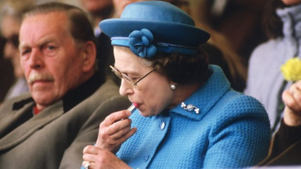 The Queen prepping her pout at an equestrian event at Windsor in 1985.