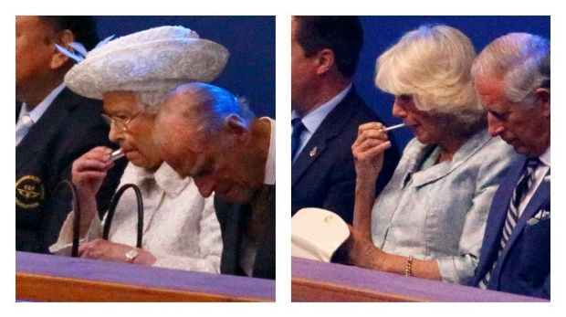 The Queen and Camilla were both photographed applying their respective lipstick and lip gloss during the opening of the ...