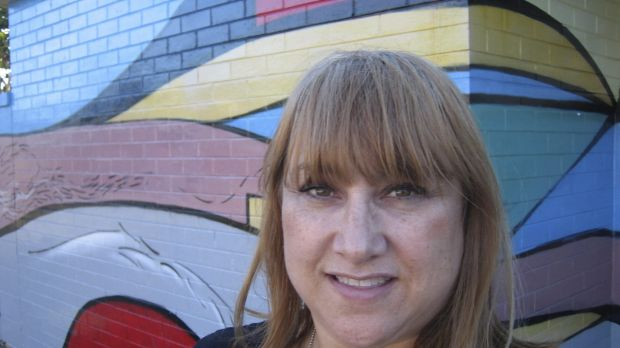 Arty: Living Streets co-ordinator Danella Bennett in front of an Ashcroft mural by Claire Nakazawa.