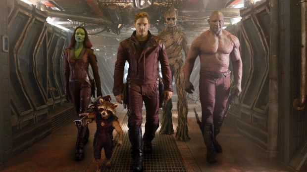 Misfits ... <i>Guardians Of The Galaxy</i> (from left) Zoe Saldana, the character Rocket Racoon, voiced by Bradley ...