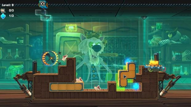 Layers of complexity: Lemmings meets Tetris in MouseCraft, where mice need to be guided safely to the goal while ...