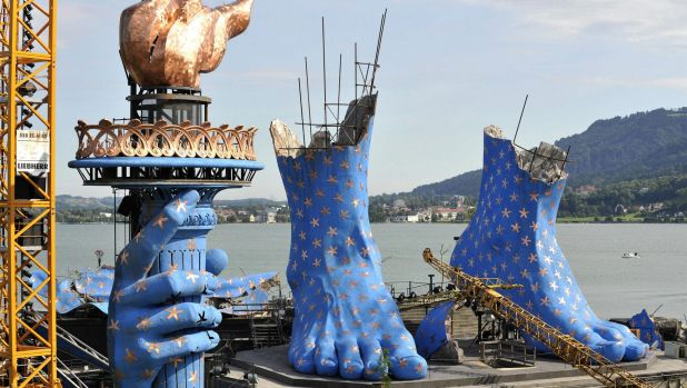 Building the stage for the lakeside production of <i>Aida</i> in Bregenz, Austria, in 2011.