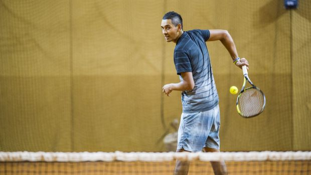 Nick Kyrgios trains at the AIS on Tuesday morning.