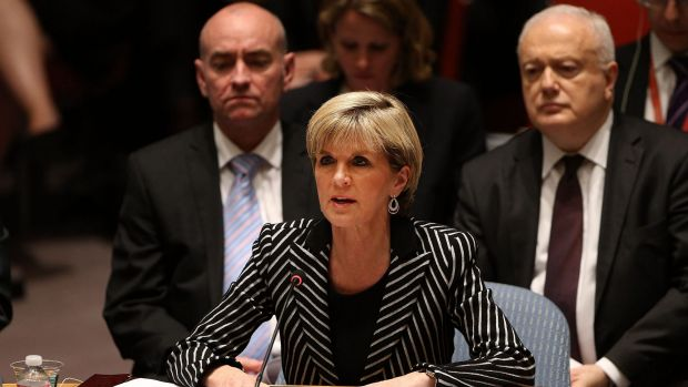 Australia's Foreign Affairs Minister, Julie Bishop, speaks during a meeting of the United Nations Security Council to ...