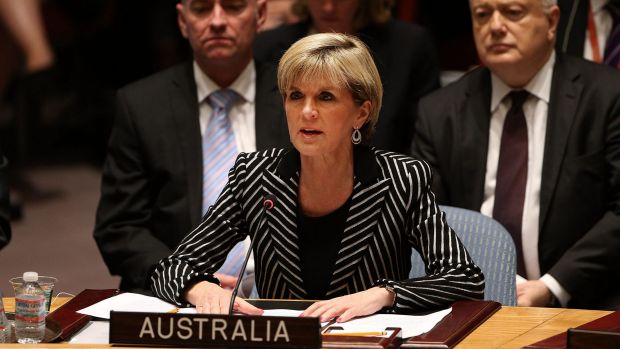 Australia's foreign minister Julie Bishop speaks during a meeting of the United Nations Security Council to discuss the ...
